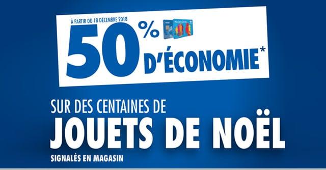 À partir du 18 décembre, 50% d'économies fidélité sur des centaines de jouets de Noël signalés en magasin*