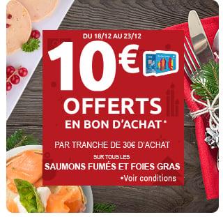 bon d'achat sur tous les saumons et foies gras*