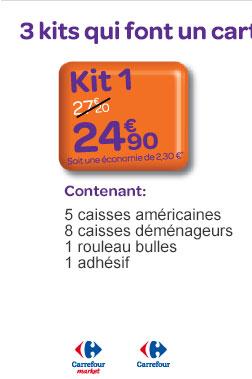 Kit 1 contenant 5 caisses am&éricaines, 8 caisses déménageurs, 1 rouleau bulles, 1 adhésif