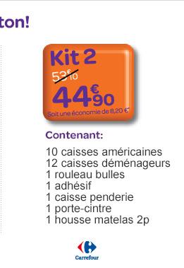 Kit 2 contenant 10 caisses am&éricaines, 12 caisses déménageurs, 1 rouleau bulles, 1 adhésif, 1 caisse penderie, 1 porte-cintre, 1 housse matelas 2p